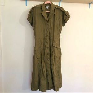 Vintage 〰️ Olive green midi work wear dress